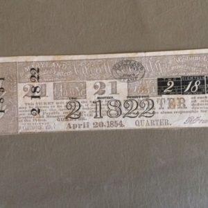 1854 Maryland Lottery Ticket
