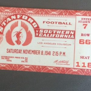 1941 College Football Ticket USC vs Stanford