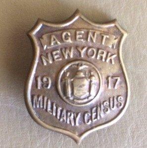 Agent 1917 Military Census WW I badge