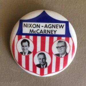 Nixon Agnew McCarney N. Dakota 1968 Pinback