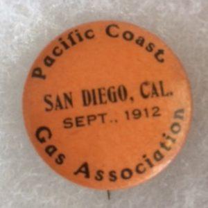 Pacific Coast Gas Assoc 1912 San Diego Pinback
