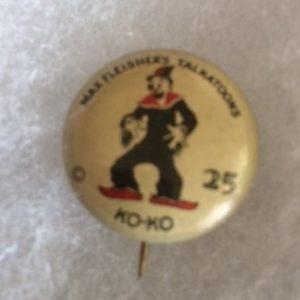 1930s KoKo the Clown Max Fleisher Pinback