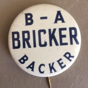 BA Bricker Backer 1944 Pinback
