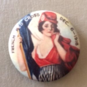 French Red Cross Woman Pinback WWI