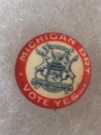 Michigan Dry Vote Yes Prohibition Pinback