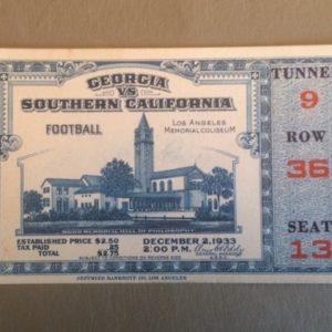 1933 USC vs Georgia Football Ticket Stub