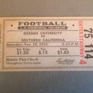 1933 USC vs Oregon Football Ticket Stub