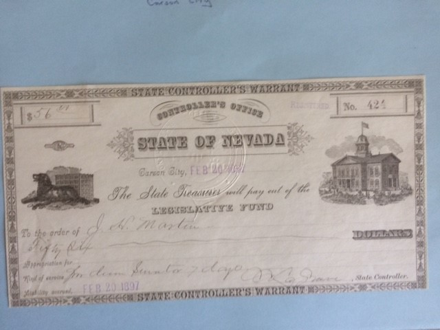 State of Nevada Controllers Warrant 1897