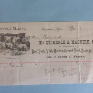 Virginia City Nevada Receipt Meat Vendor 1900
