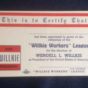 Wendell Willkie League Cards