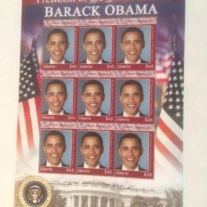 Barack Obama Liberia Stamp Sheet with 9 stamps
