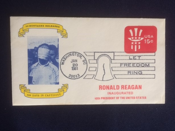 Reagan Inauguration cover with Hostages Released Cachet