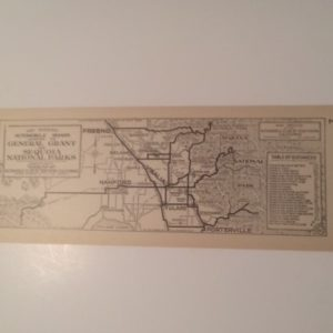 1920s California AAA Map Roads General Grant and Sequoia Natl Parks