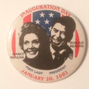 Inauguration Day 1981 Ronald and Nancy Reagan 3 inch pinback