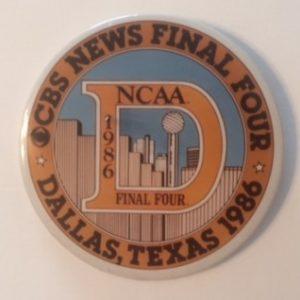 1986 NCAA Final Four CBS News pinback