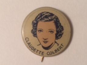 Claudette Colbert 1930s drawing pinback