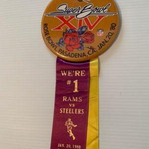Large Superbowl XIV pinback and ribbon Rams