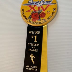 Large Superbowl XIV pinback and ribbon Steelers